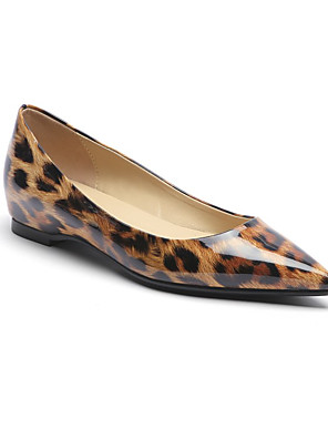cheap Sexy Bodies-Women's Flats Flat Heel Pointed Toe Patent Leather Spring &  Fall Leopard