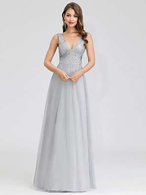 cheap Prom Dresses-A-Line Elegant Prom Formal Evening Dress Plunging Neck Sleeveless Floor Length Tulle with 2020