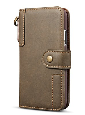 cheap iPhone Cases-Case For iPhone 11 Pro Max / iPhone 11 / iPhone 11 Pro Wallet / Card Holder / Shockproof Full Body Cases Solid Colored Genuine Leather For iPhone Xs Max / XR / XS /X/8 Plus/8/7 Plus/7/6 Plus/6/5/5S/SE