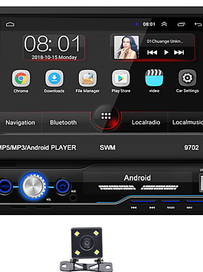 cheap Boys' Tops-SWM 9702+4Led camera 7 inch 1 DIN Android 8.1 In-Dash Car DVD Player / Car MP5 Player / Car MP4 Player Touch Screen / GPS / Built-in Bluetooth for universal RCA / HDMI / FM2 Support MPEG / MPG / WMV