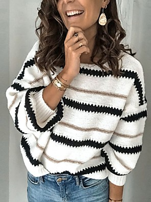 cheap More To Love-Women's Striped Long Sleeve Pullover Sweater Jumper, Round Neck Black / White / Camel S / M / L