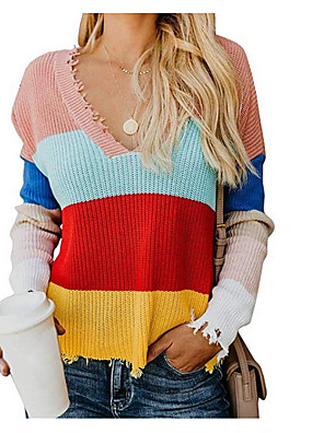 cheap Women's Tops-Women's Striped Pullover Cotton Long Sleeve Sweater Cardigans Deep V Yellow Blushing Pink Navy Blue