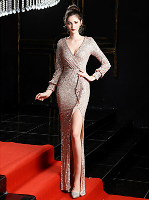 cheap Evening Dresses-Mermaid / Trumpet Sexy Sparkle & Shine Formal Evening Dress V Neck Long Sleeve Sweep / Brush Train Sequined with Sequin Split Front 2020