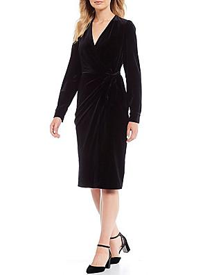 cheap Cocktail Dresses-Sheath / Column Elegant Holiday Cocktail Party Dress V Neck Long Sleeve Knee Length Velvet with Sash / Ribbon 2020