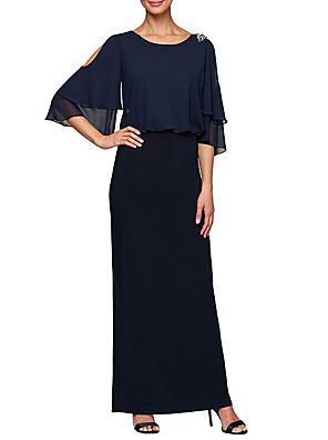 cheap Evening Dresses-Sheath / Column Mother of the Bride Dress Elegant & Luxurious Jewel Neck Floor Length Chiffon 3/4 Length Sleeve with Crystals 2020 / Bell Sleeve
