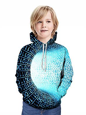 povoljno Majice s kapuljačama i trenirke za dječake-Djeca Dječaci Aktivan Ulični šik Geometrijski oblici 3D Kolaž Print Dugih rukava Trenirka s kapuljačom Plava
