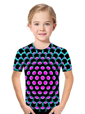 cheap Boys' Tops-Kids Toddler Girls' Active Basic Geometric Print Color Block Print Short Sleeve Tee Fuchsia