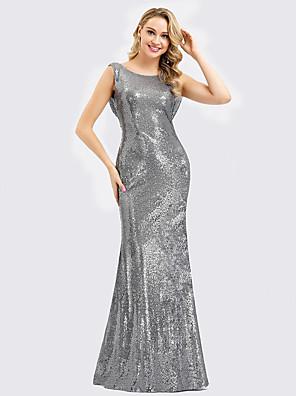 cheap Evening Dresses-Mermaid / Trumpet Elegant Formal Evening Dress Jewel Neck Sleeveless Floor Length Polyester with Sequin 2020