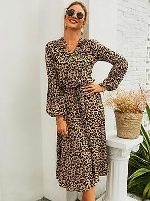cheap For Young Women-Women's Daily Wear Basic A Line Dress - Leopard Light Brown S M L XL
