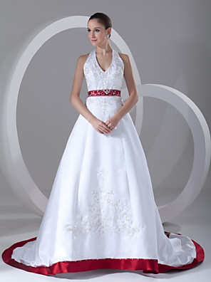 cheap Wedding Dresses-A-Line Wedding Dresses Halter Neck Chapel Train Satin Regular Straps with Sashes / Ribbons Beading Embroidery 2020