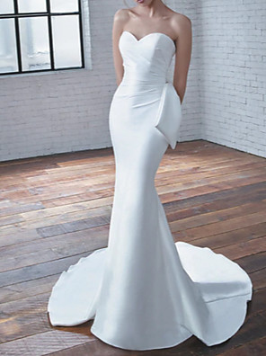 cheap Evening Dresses-Mermaid / Trumpet Wedding Dresses Sweetheart Neckline Court Train Stretch Satin Strapless Modern Elegant with Bow(s) Ruched 2020