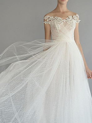 cheap Wedding Dresses-A-Line Wedding Dresses Off Shoulder Sweep / Brush Train Lace Tulle Short Sleeve with Draping Appliques 2020