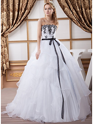 cheap Wedding Dresses-Ball Gown Wedding Dresses Strapless Court Train Lace Organza Satin Strapless Wedding Dress in Color with Sashes / Ribbons Bow(s) Beading 2020