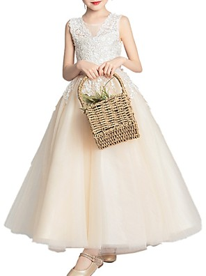 cheap Flower Girl Dresses-Princess Floor Length Pageant Flower Girl Dresses - Lace Sleeveless Jewel Neck with Appliques