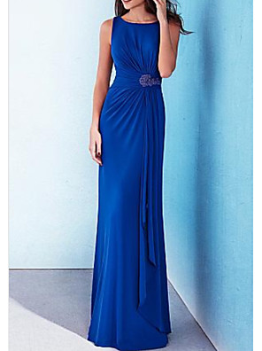 cheap Prom Dresses-Sheath / Column Minimalist Blue Wedding Guest Formal Evening Dress Jewel Neck Sleeveless Floor Length Stretch Satin with Draping Appliques 2020