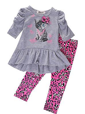 cheap Boys' Clothing Sets-Kids Girls' Basic Print Long Sleeve Clothing Set Gray