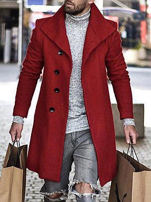 cheap Smart Watches-Men's Daily Basic Winter Long Coat, Solid Colored Black & Red Turndown Long Sleeve Others Oversized Red