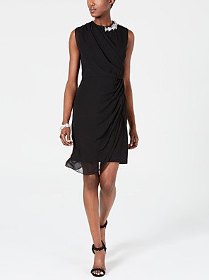 cheap Cocktail Dresses-Sheath / Column Little Black Dress Holiday Cocktail Party Dress Jewel Neck Sleeveless Short / Mini Chiffon with Crystals Side Draping 2020