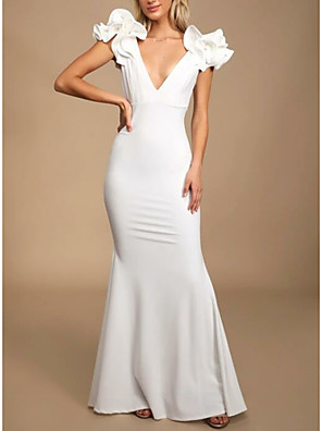 cheap Evening Dresses-Sheath / Column Elegant Formal Evening Dress Plunging Neck Sleeveless Floor Length Polyester with Cascading Ruffles 2020