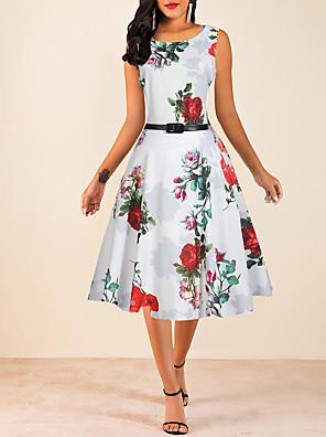 cheap Women's Blouses & Shirts-Women's A Line Dress - Sleeveless Floral Print Print 1950s Vintage Going out White M L XL XXL