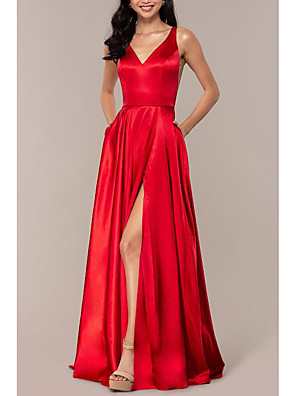 cheap Evening Dresses-A-Line Empire Red Wedding Guest Prom Dress V Neck Sleeveless Sweep / Brush Train Charmeuse with Split Front 2020