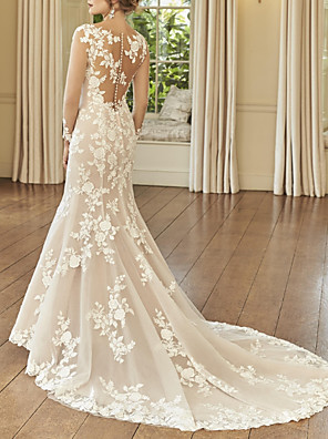 cheap Evening Dresses-Mermaid / Trumpet Wedding Dresses Jewel Neck Court Train Lace Long Sleeve Romantic See-Through Illusion Sleeve with Embroidery 2020
