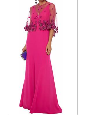 cheap Mother of the Bride Dresses-Sheath / Column Elegant Formal Evening Dress Jewel Neck Half Sleeve Sweep / Brush Train Stretch Satin Jersey with Pleats 2020