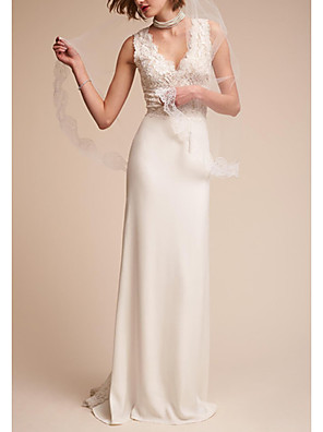 cheap Wedding Dresses-A-Line Wedding Dresses V Neck Sweep / Brush Train Tulle Regular Straps with Appliques 2020