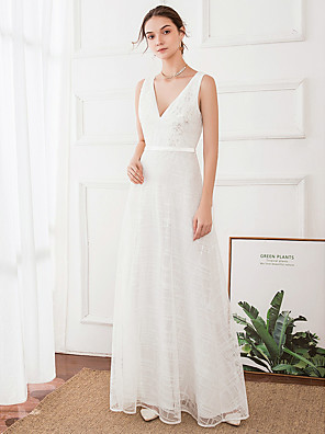 cheap Wedding Dresses-A-Line Wedding Dresses V Neck Floor Length Satin Polyester Regular Straps with 2020