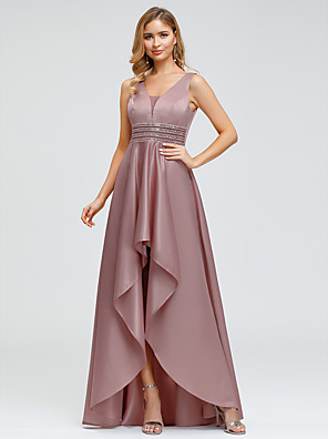 cheap Prom Dresses-A-Line Elegant Pink Wedding Guest Cocktail Party Dress V Neck Sleeveless Asymmetrical Polyester with Crystals Beading 2020