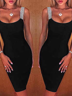 cheap Cocktail Dresses-Women's Bodycon Dress - Sleeveless Solid Colored Glitter Strap Sexy New Year Going out Club Sleeveless Off Shoulder Black S M L XL / Little Black