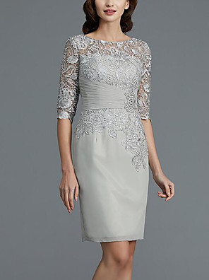 cheap Evening Dresses-Two Piece Sheath / Column Mother of the Bride Dress Wrap Included Jewel Neck Knee Length Chiffon 3/4 Length Sleeve with Lace Sash / Ribbon Crystal Brooch 2020