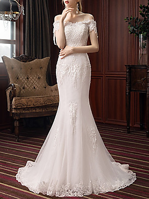 cheap Evening Dresses-Mermaid / Trumpet Wedding Dresses Off Shoulder Sweep / Brush Train Polyester Short Sleeve with Beading Appliques 2020