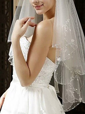 cheap Wedding Veils-Two-tier Classic Style / Lace Wedding Veil Elbow Veils with Solid / Pattern 59.06 in (150cm) POLY / Lace