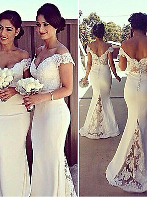 cheap Evening Dresses-Mermaid / Trumpet Elegant White Engagement Formal Evening Dress Off Shoulder Short Sleeve Sweep / Brush Train Stretch Satin with Lace Insert Appliques 2020