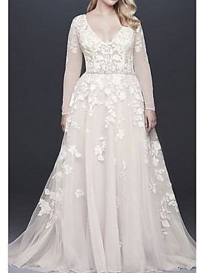 cheap Wedding Dresses-A-Line Wedding Dresses V Neck Court Train Lace Tulle Long Sleeve Illusion Sleeve with Beading Appliques 2020