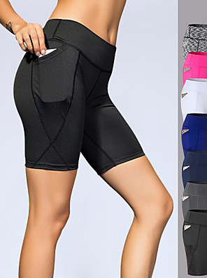 cheap Sports Support & Protective Gear-YUERLIAN Women's High Waist Yoga Shorts Pocket Shorts Tummy Control Butt Lift 4 Way Stretch White Black Navy Blue Spandex Fitness Gym Workout Running Sports Activewear High Elasticity Slim
