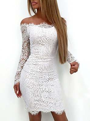 cheap Romantic Lace Dresses-Women's Bodycon Dress - Long Sleeve Paisley Solid Colored Lace Off Shoulder Elegant Sexy Cocktail Party Going out Birthday Belt Not Included Slim White S M L