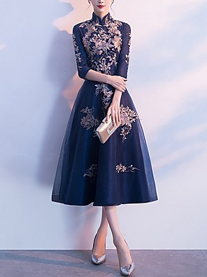 cheap Prom Dresses-A-Line High Neck Tea Length Polyester Vintage / Blue Engagement / Cocktail Party Dress with Appliques / Embroidery 2020