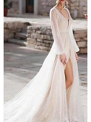 cheap Wedding Dresses-A-Line Wedding Dresses V Neck Sweep / Brush Train Tulle Long Sleeve Illusion Sleeve with Sashes / Ribbons Split Front 2020
