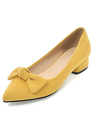 cheap Men's Exotic Underwear-Women's Loafers & Slip-Ons Low Heel Pointed Toe Bowknot Synthetics Spring &  Fall Black / Yellow / Pink