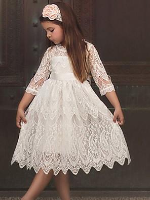 cheap Girls' Dresses-Kids Girls' Solid Colored 3/4 Length Sleeve Midi Dress White