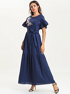 cheap Mother of the Bride Dresses-A-Line Mother of the Bride Dress Elegant & Luxurious Jewel Neck Ankle Length Spun Rayon Short Sleeve with Sash / Ribbon 2020