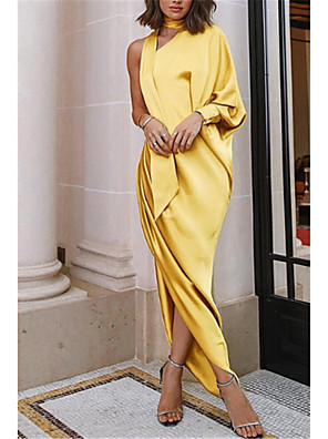 cheap Evening Dresses-Women's Asymmetrical Swing Dress - Long Sleeve Solid Colored Ruffle Ruched Split Spring Fall One Shoulder Sexy Cocktail Party Prom Puff Sleeve Slim Kentucky Derby Wine Yellow Orange S M L XL