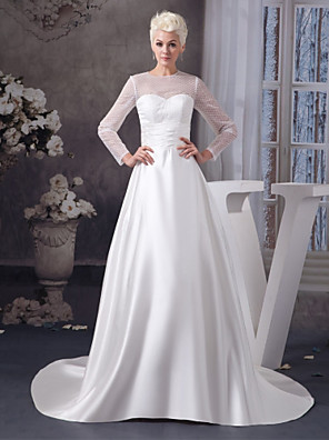 cheap Evening Dresses-A-Line Wedding Dresses Jewel Neck Court Train Satin Tulle 3/4 Length Sleeve Illusion Sleeve with Ruched 2020 / Bell Sleeve