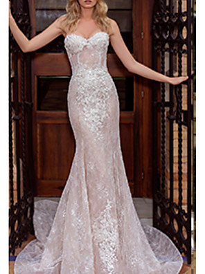 cheap Wedding Dresses-Mermaid / Trumpet Wedding Dresses Strapless Court Train Lace Strapless with Draping Appliques 2020