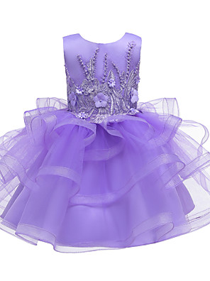 cheap Girls' Dresses-Kids Toddler Girls' Active Cute Floral Solid Colored Lace Sequins Beaded Sleeveless Knee-length Dress Purple