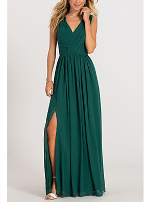 cheap Bridesmaid Dresses-A-Line Elegant Formal Evening Dress V Neck Sleeveless Floor Length Chiffon with Pleats Split Front 2020