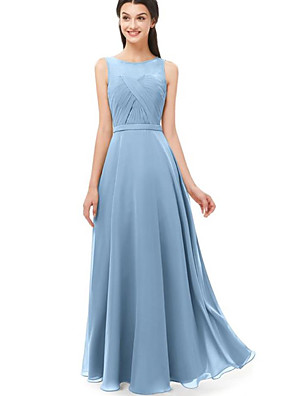 cheap Bridesmaid Dresses-A-Line Jewel Neck Floor Length Chiffon Bridesmaid Dress with Ruching / Pleats