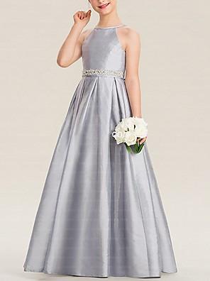 cheap Flower Girl Dresses-A-Line Floor Length Pageant Flower Girl Dresses - Polyester Sleeveless Halter Neck with Bow(s)